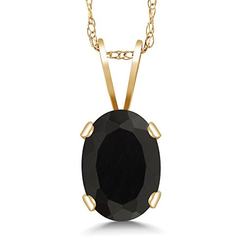 Gem Stone King 0.68 Ct Oval Black Onyx 14K Yellow Gold Pendant