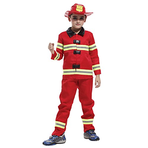 Spooktacular Kids' Fireman Costume Set with Uniform & Hat, M]()