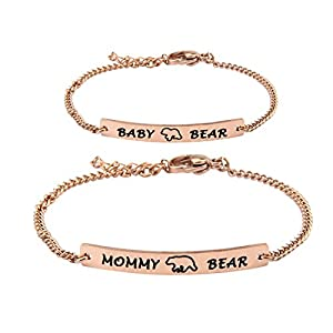 WUSUANED Mommy Bear and Baby Bear Bracelet Set Mommy and Me Jewely Baptism Gift for New Born Baby