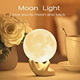 Eguled Moon Lamp Adjustable Brightness and Warm White/Cool White Color, USB Charging Cable. Romantic Moon Light Will Birthday Gifts for Women, Men, Kids, Child, and Baby