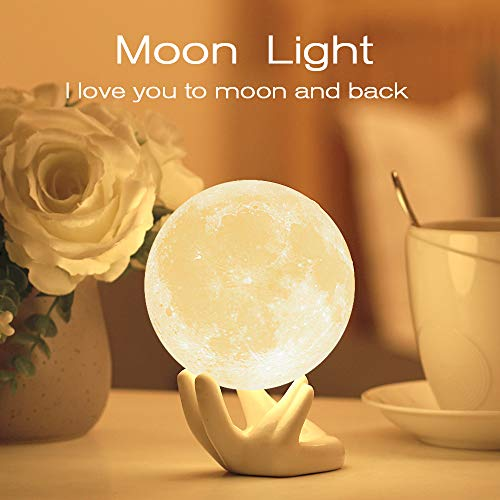 Moon Lamp with Stand Adjustable Brightness and Warm White/Cool White Color, USB Charging Cable. Romantic Moon Light Will Birthday Gifts for Women, Men, Kids, Child, and Baby