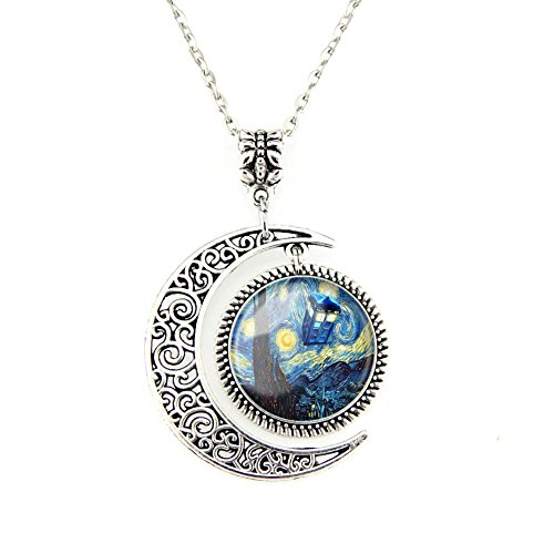 Moon Pendant Tardis Doctor Who Starry Night Necklace Van Gogh Jewelry Personalized Necklaces Gift