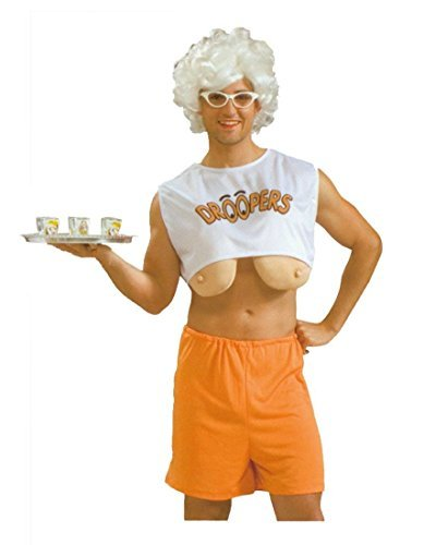 [Adult Men's Droopers Hooters Stag Do Fancy Dress Costume Outfit with Blonde Wig & Glasses by Rubber Johnnies] (Man Hooters Costume)