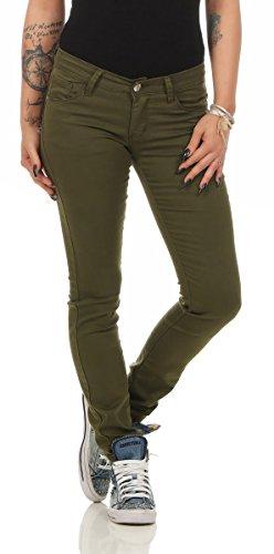 Fashion4Young - Jeans - Femme Turquoise turquoise 38 Kaki