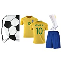 Brazil Neymar #10 Home Kids Soccer Jersey All Youth Sizes Ages