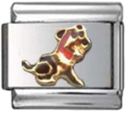 Stylysh Charms Dog Puppy Doggy Enamel Italian 9mm Link DG422 ()