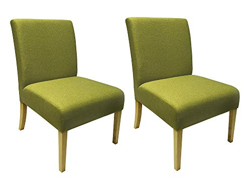 Set of Two - Green Accent Chairs - Armless - Fabric Upholstery - Solid Wood Legs - Classic Design (Green)