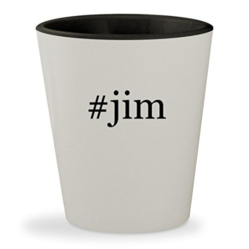 #jim - Hashtag White Outer & Black Inner Ceramic 1.5oz Shot - Harbaugh Glasses Jim