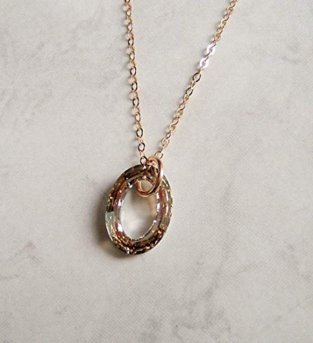 Champagne Beige Cosmic Oval Ring 16 Inch Gold Filled Necklace Made With Swarovski Crystal Gift Idea