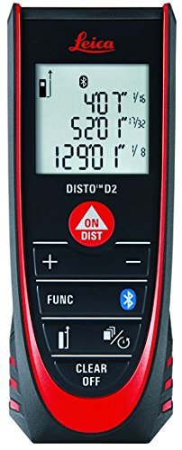 Leica DISTO D2 New 330ft Laser Distance Measure with Bluetooth 4.0, Black/Red by Leica Geosystems by Leica Geosystems