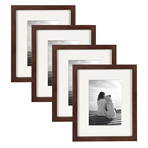 Brown Frame Set - DesignOvation Gallery Wood Photo Frame Set for Customizable Wall or Desktop Display, Walnut Brown 8x10 matted to 5x7, Pack of 4