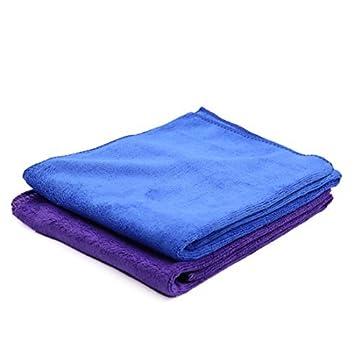 eDealMax 2pcs 65 x 33cm 400gsm coches absorbente de microfibra toalla limpia Azul púrpura