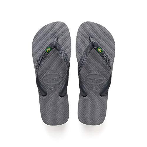 Flip Flop Sandals Logo - Havaianas Women's Brazil Flip Flop Sandal,Steel Grey, 35/36 BR(5-6 M US Women's)
