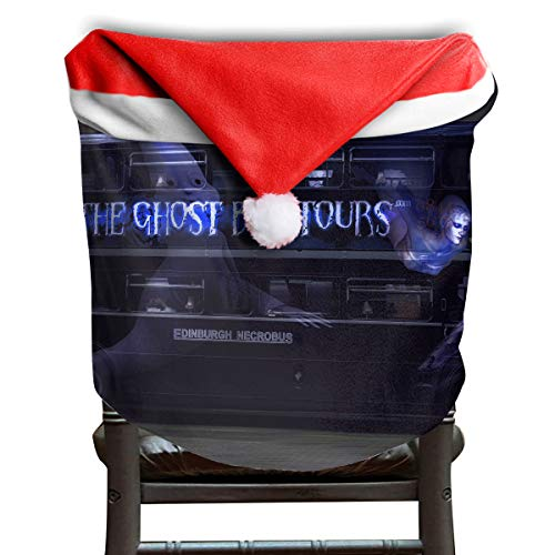 EDYE Cool Halloween Ghost Tour Bus Christmas Xmas Themed Dinning Seat Chair Cap Hat Covers Ornaments for Backers Slipcovers Wraps Coverings Decorations Protector Set ()
