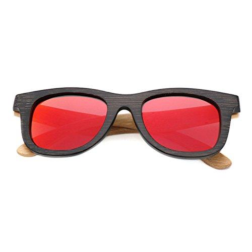 de TP UV400 de Lente de Madera Color de de Brillante Tonos Madera 2 Efecto de Dos Grano Gafas patrón 4 de Espejo Madera Sol rraqUR5