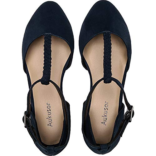 Aukusor Women's Wide Width Ballet Shoes - T-Strap Pointed Toe Casual Flat.(180315 BlueMF 11)]()