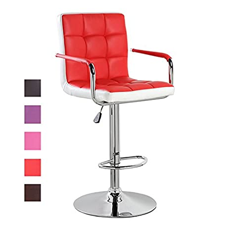 Modern Leather Contemporary Swivel Adjustable Height Bar Stools with Backs and Arms Red  sc 1 st  Amazon.com & Amazon.com: Modern Leather Contemporary Swivel Adjustable Height ... islam-shia.org