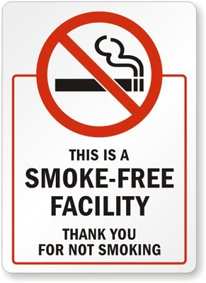 This is a Smoke Free Facility Thank You For Not Smoking (vertical sign) Label, 5