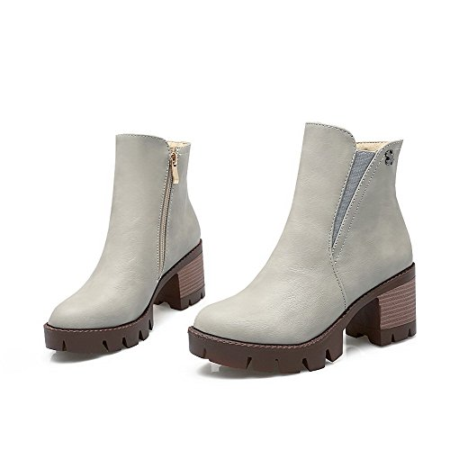 AgooLar Women's Round Closed Toe Kitten Heels Soft Material Low Top Solid Boots Gray HwER0U