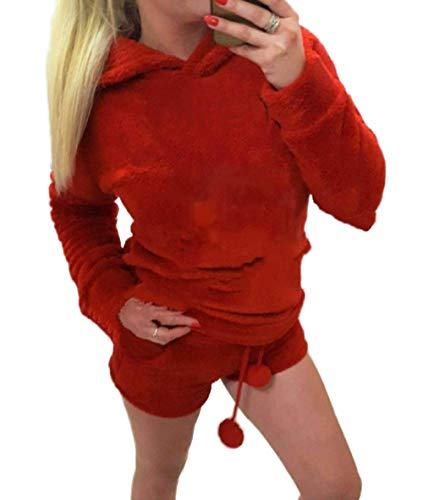 Women's Pajamas Cozy Sleepwear Plush Fleece Meow Embroidered Hoodie Shorts Set (S, Red) ()