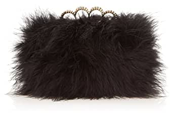 BCBG Feather Box With Crystal Knuckle Clutch,Black,One Size