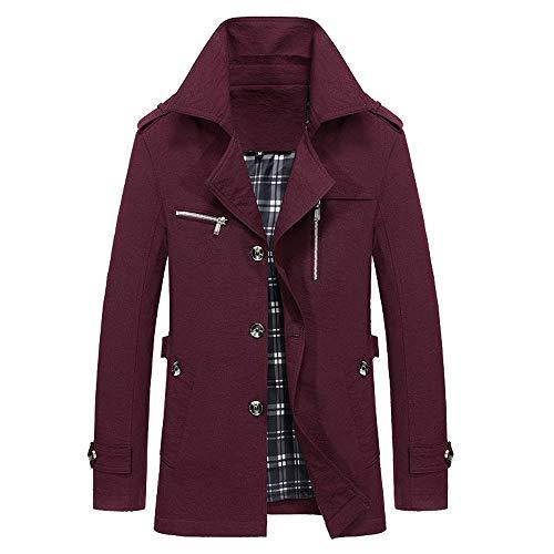 Wine Winter Jacket Long Warm Men Coat Slim Jackets Buttons Trench Give koiu❀❀Men's Outwear Outdoor Overcoat Iw6UfY1