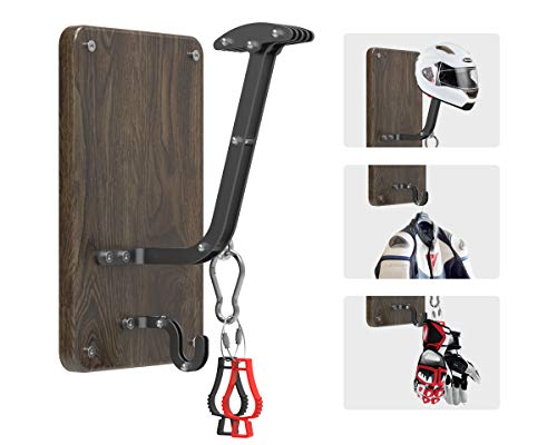 Motorcycle Helmet Rack and Jacket Hook - VT-02 Handmade Wall Mount Holder, Heavy Duty Storage Hanger for Motorbike Bike Helmet, Armor Racing Suit, Leather Gloves, Riding Bag, Biker Pants Shorts Jeans (Motorcycle Helmet And Jacket)