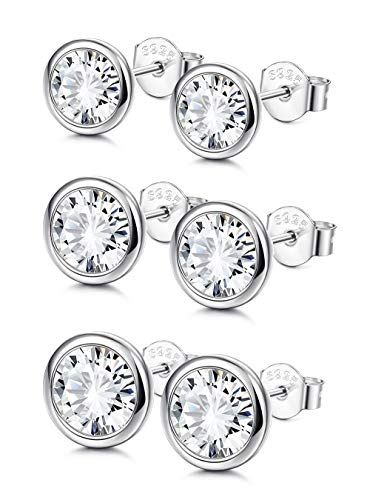 Sllaiss Sterling Silver Cubic Zirconia Bezel Set Stud Earrings Set for Women Girls Round Cut CZ Earrings 3 Pairs Martini Stud Earrings Hypoallergenic