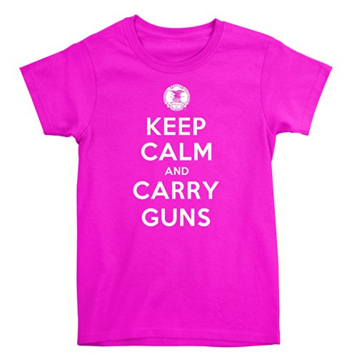(Officially Licensed NRA Keep Calm And Carry Guns Ladies T-Shirt,Heliconia, XL)