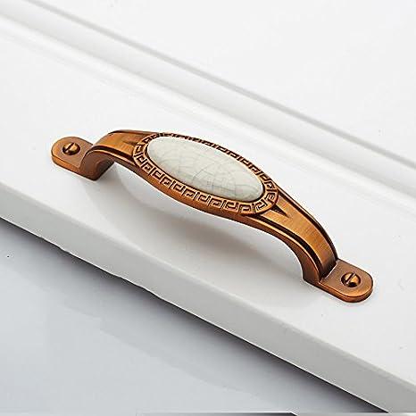 DaMonicv Tiradores minimalistas chinos antiguos retro puerta del armario cajones europeos armario pequeño de bronce amarillo?Agrietarse brea blanca 96: ...