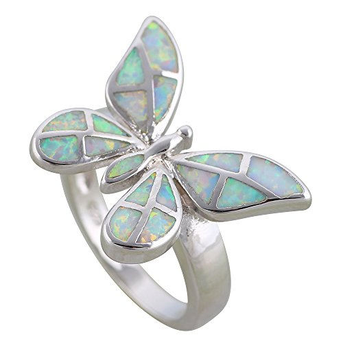 Fashion Jewelry Rings for Women Butterfly White Opal Ring 925 Sterling Silver Overlay Party Silver Ring R616 (6)