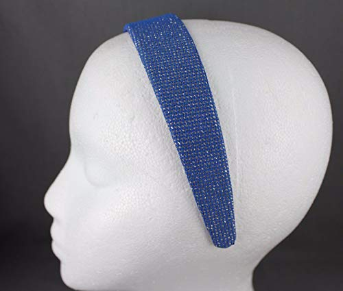 Blue Gold Sparkly Glittery Fabric Covered Wide Headband Hair Band Accessory Girls Headbands For Women