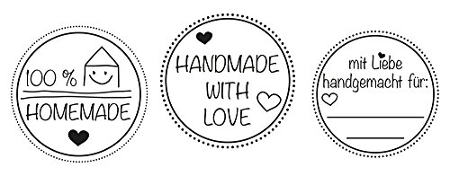Stamp Set Of 3 Home Made With Love Handmade 100 Hand