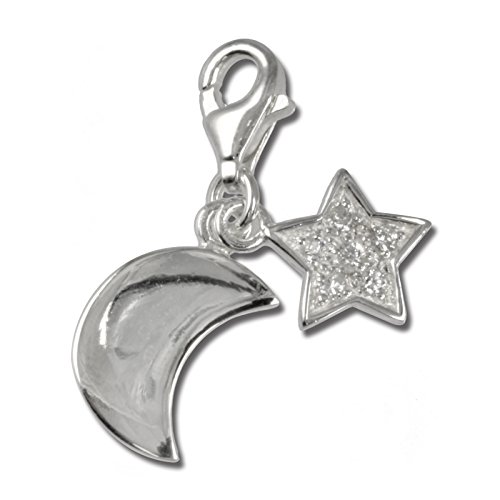 (SilberDream Charm moon and star white Zirconia 925 Sterling Silver Pendant Lobster Clasp FC228W)