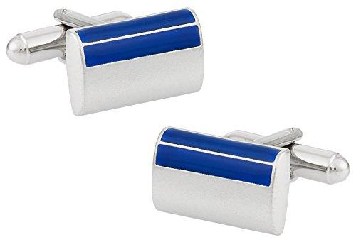 - Cuff-Daddy Satin Blue Rectangular Enamel Cufflinks in Silver with Presentation Box