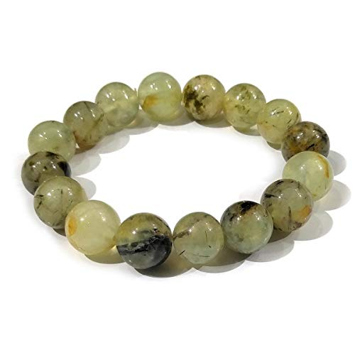 Reiki Crystal Products Epidot Bracelet 12 mm Round Bead Reiki Healing Crystal Bracelet for Unisex (Color : Green)