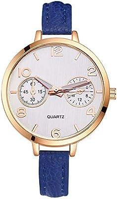 Laogg Reloj de Cuarzo Grandes Relojes para Mujer Relojes de Hora Top Marca Cuarzo Reloj Mans patrón reticular Cuero Deporte Reloj de Pulsera Reloj