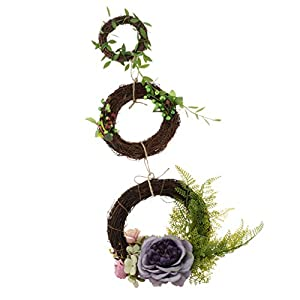 Triplet Simulation Floral Door Wreath Artificial Peony Rattan Garland for Home Wall Garden Wedding Party Decor 20