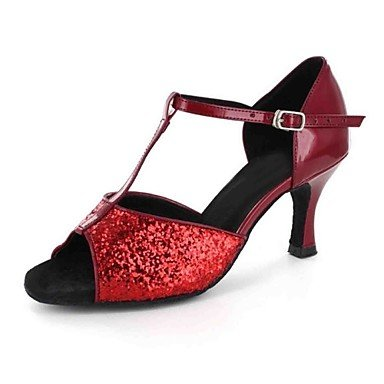 Kunstleder Latino Preto Sapatos 9 Xiamuo Desempenho Cn4 40 Profissional Prática Senhoras Nos Sandálias Personalizáveis Eu Iniciante Calcanhar dançar Uk7 Coberta Adaptados 4x6xnIwYqC