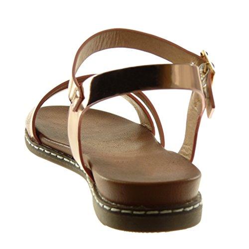 Angkorly Damen Schuhe Sandalen - Knöchelriemen - Multi-Zaum - Schlangenhaut - Glänzende Blockabsatz 3 cm Champagner