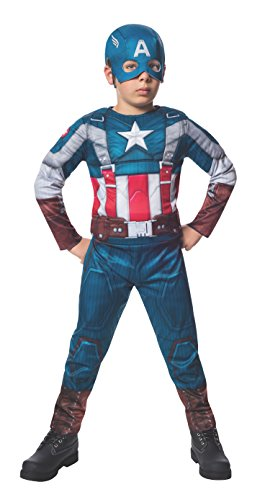 Captain+America Products : Rubies Marvel Comics Collection: Captain America: The Winter Soldier Fiber-Filled Retro Suit Captain America Costume, Child Large