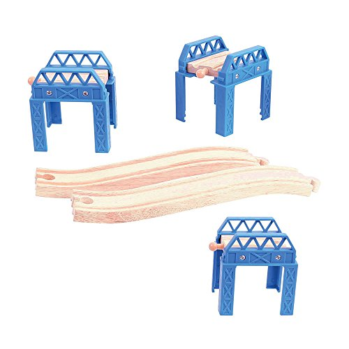 - Bigjigs Rail Construction Support Set - Other Major Wooden Rail Brands are Compatible