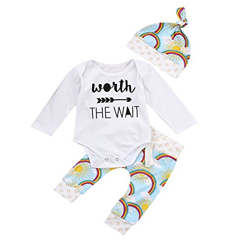 OUTGLE Newborn Baby Girl Long Sleeve Romper + Rainbow Trousers + Hat Clothing Set Outfits