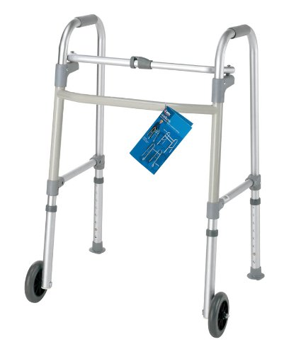 Carex Health Brands FGA85786 0000 Single-Button Walker with Wheels by Carex Health Brands
