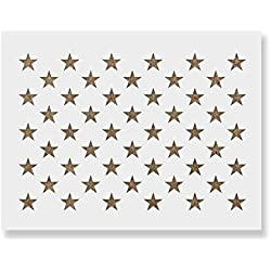 "50 Stars Stencil Template - Reusable Stencil of American Flag 50 Stars in Official US Proportions (Actual Dimensions 32.1"" Width x 22.3"" Height)"