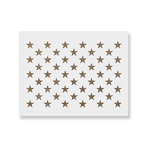 Revolution Star - 50 Stars Stencil Template - Reusable Stencil of American Flag 50 Stars in Official US Proportions (Actual dimensions 15.7