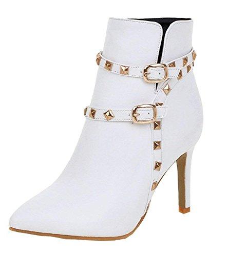 Talon Zip À Femmes Bottines Bottes Haut Aiguille Ye Blanc Chaussure Hiver X1SxnIw