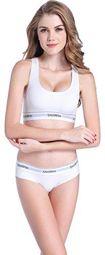 UNIWIN Women's Combed Cotton Sport Bra and Panty Set Soft Supportive Sexy Bralette Bikini Panty Underwear White L