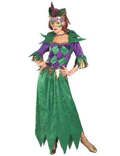Forum Mardi Gras Madness Gown, Green/Gold/Purple, Adult Costume