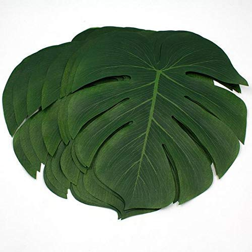 ILAWS Tropical Palm Leaves - Faux Palm Leaves - Large Palm Leaves Decorations -48pcs Large Size (13.8 by 11.4inch) Artificial Tropical Palm Leaves for Party, Wedding; Hawaiian; Luau ()